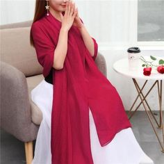 Women Summer Oversized Solid Colors Sunscreen Chiffon Scarves Shawls Beach Towel