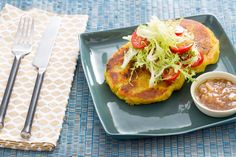 Potato Rosti with Frisée Salad & Tamarind Chutney. Visit http://www.blueapron.com/ to receive the ingredients.