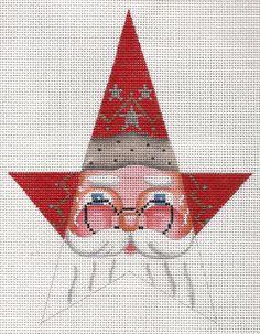 Needlepoint+Christmas+Ornament++Santa+Star+by+ADragonsTaleDirect