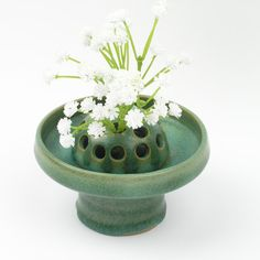 Vintage Multi-Purpose Single Candle/Flower Pottery Vase - German Style - Green - Home Decoration - Collectible -  Gift
