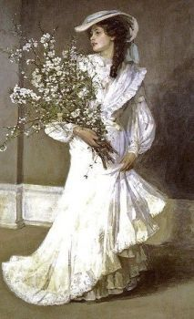 ⊰ Posing with Posies ⊱ paintings illustrations of women children with flowers - Sir John Lavery, Spring, Vintage Pictures, Vintage Images, Vintage Art, Victorian Women, Victorian Art, Foto Portrait, Victorian Paintings, Art Ancien, Classical Art