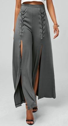 Lace Up High Slit Flowy Pants