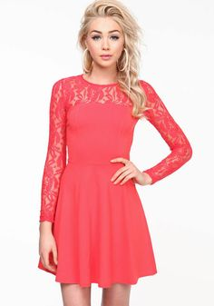 Lace Sleeves Skater Dress, CORAL, large