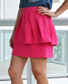Hot Pink Peplum Skirt | Pink and Chambray outfit | Peplum Fuchsia Skirt | LoveShoppingMiami.com #pink #chambray #fuchsia #hotpink