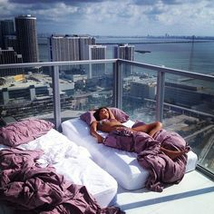 Slept on the balcony of our high rise while on vacation in Miami. Unforgettable <3