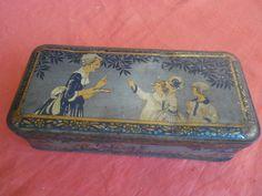 BOITE GATEAUX  EMAILLE DECOR FILLETTES PLANTEUR CAIFA 1930 / ENAMELLED CAKE BOX