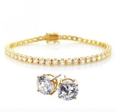 Valentines Day Gifts Bling Jewelry CZ Gold Vermeil Tennis Bracelet and Stud Earrings set 925 Silver Bling Jewelry. $89.99. Bracelet fits up to a 7.5 wrist. .925 Sterling Silver. Set weighs 20 grams. Gold vermeil plated. For pierced ears