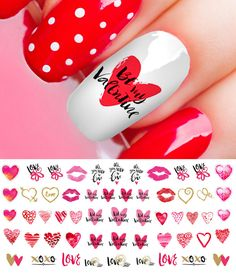 Valentines Day Heart Assortment Set #3  Nail Art Decals - Salon Quality! #MoonSugarDecals