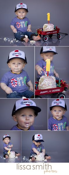 The Results: Sawyer's First Birthday Cake Smash - with toddler trucker hat (iron-on patch on Amazon hat) and radio flyer wagon as cake stand.