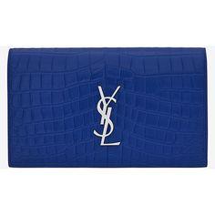 Classic Kate Monogram Saint Laurent Clutch ($1,160) ❤ liked on Polyvore featuring bags, handbags, clutches, purses, bolsa, blue handbags, pocket purse, monogrammed clutches, handbags purses and blue purse