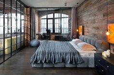 Мансарда Спальня Дизайн Мужчины С Деревянная Доска Стены