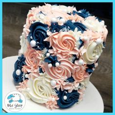 Navy & Blush Buttercream Textures To Go Cake Nj birthday cake - Blue Sheep Bake Shop Navy and Blush Buttercream Textures Cake – by Blue Sheep Bake Shop Pretty Cakes, Beautiful Cakes, Amazing Cakes, Beautiful Cake Designs, Blue Cakes, Pastel Cakes, Baby Shower Gender Reveal, Baby Gender, Gender Party