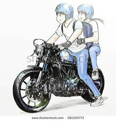 boy and girl riding classic motorcycle - Doodle - Motorrad Bike Couple, Motorcycle Couple, Bobber Motorcycle, Classic Motorcycle, Girl Riding Motorcycle, Bike Drawing, Cute Love Stories, Cartoon Sketches, Couple Cartoon
