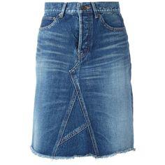 Saint Laurent A-line denim midi skirt (34.290 RUB) ❤ liked on Polyvore featuring skirts, denim, blue, mid length denim skirt, denim skirt, a line skirt, denim midi skirt and button-front denim skirts
