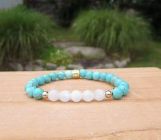 #Moonstone Bracelet Gift Idea for Woman Gold and Turquoise #Gifts #GiftsforWomen