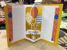 handmade birthday card from stamp-with-amy-k ... inside view of pop-up element with die cut balloons ... Stampin' Up!