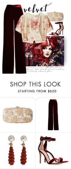 """Crushing It: Summer to Fall Velvet"" by easy-dressing ❤ liked on Polyvore featuring Oscar de la Renta, Etro, Valentin Magro, Gianvito Rossi and Vilshenko"