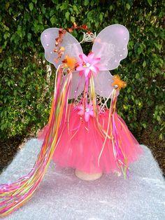 Hot Pink Tutu with light pink wings, wands, halos Ballet Tutus- Orange, Hot Pink and Lime Ribbon Dress Up Dance Princess Party Tutu. $19.99, via Etsy.