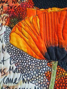 Laura Kemshall - detail'What Dreams May Come', 2015, 48cm x 124cm,Quilt Digital print, reverse appliqué, hand written text, machine quilting.