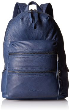 Liebeskind Berlin Saku, Indigo Blue. Leather backpack. Zip closure with two exterior zip pockets, adjustable straps. Printed cotton lining with ipad pocket, zip pocket, and one slit pocket. Adjustable straps.