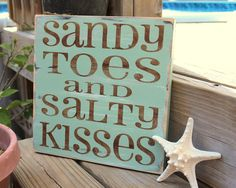 Beach Sign Sandy Toes Salty Kisses Coastal Beach House Nautical Decor Nursery Decor Sea Green