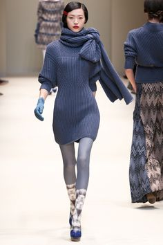 Cacharel A/W 2012.  Not sure if this is knit, but could be easily made in crochet.  The shifting stitches add both texture and structure.