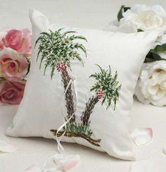 Beautiful Palm Tree Beach Ring Pillow $31.95