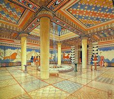 The Stream of Time: The Minoans: The Labyrinth - A colorful reconstruction of the interior of a Mycenaean palace-temple
