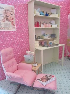 I realize this is a Barbie playhouse...but the only reason I am pinning this picture is becuase I want that Eams Chair! It's pink!! I wonder if they have one like that in real life??