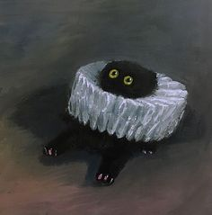 """""""Just found this amazing chonky void art! The artist is Vanessa Stockard (Vanessastockard on IG)"""" Art Sketches, Art Drawings, Black Cat Painting, Black Cat Art, Arte Sketchbook, Aesthetic Art, Art Inspo, Art Reference, Art Projects"""