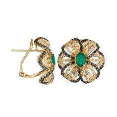 Effy Jewelry Emerald & Black Diamond Flower Earrings in Yellow Gold featured in vente-privee.com