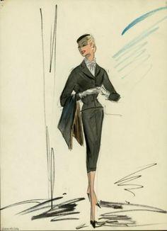 "Edith Head watercolor sketch of a costume from the 1958 film ""Vertigo"""