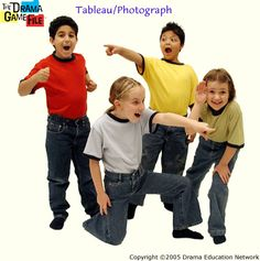 Drama - kids do tableaus, photograph them and then rearrange them to retell story