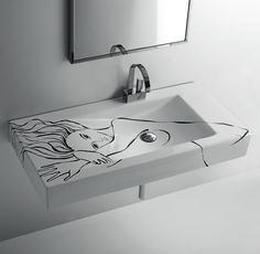 #lavabo con #decorazione originale by @ceramicasimas, un tocco di originalità per il tuo #bagno - www.gasparinionline.it #italiandesign #homedecor #arredare #lovelyhome #furniture #moderndesign