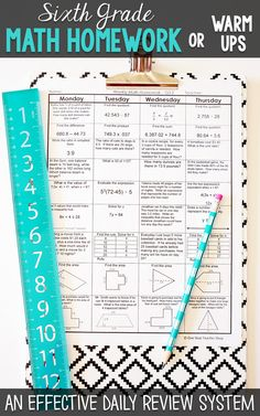 Sixth grade math homework or warm ups that provide a daily review for 6th grade math standards. This sixth grade spiral math review resource is fully EDITABLE and comes with answer keys and a pacing guide.