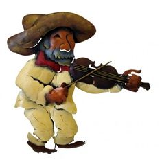 Rancherito W/Violin !!! Get the whole band! Metal wall decor. Each piece is a hand painted work of art.