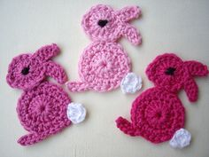 Rosa Hasen mal anders - Tiere by Haekelbluemchen - Crochet patches - Patches & Appliqué - DaWanda