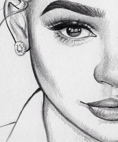 pencil art, sketches of girls faces, girl drawing sketches, girly drawings Girl Drawing Sketches, Cool Art Drawings, Pencil Art Drawings, Beautiful Drawings, Easy Drawings, Drawing Faces, Girly Drawings, Half Face Drawing, Drawing Women Face