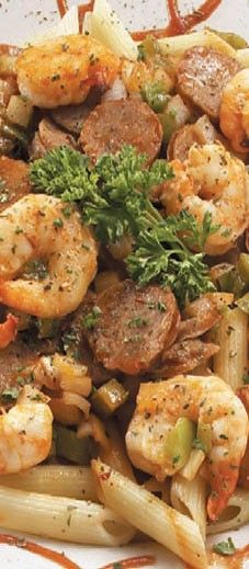 Hot and spicy New Orleans! Plump tiger shrimp, Italian sausage sautéed with chopped onions and green bell peppers in a spicy, sweet marinade. Served with penne pasta