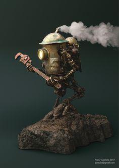 Steampunk Robots, Arte Steampunk, Steampunk Artwork, Robot Concept Art, Environment Concept Art, Warhammer 40000, Norman Rockwell, Chris Riddell, Steampunk Illustration