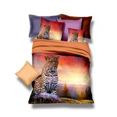 Súprava posteľných obliečok so zapadajúcim slnkom a leopardom - domtextilu.