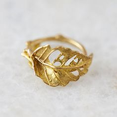 Lace Leaf Brass Ring