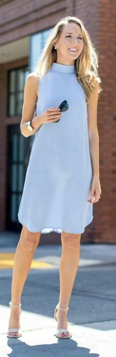 Memorandum Light Blue Mock Collar Tunic Dress