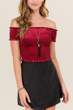 Scarlett Velvet Smocked Off the Shoulder Top