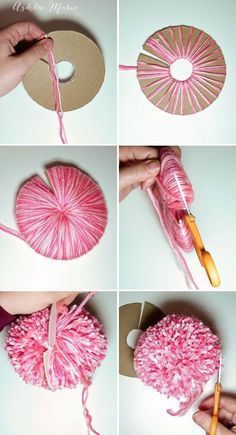 Ashlee Marie: How to make an extra EXTRA large yarn pom pom - Best Diy Projects tutorial for making your own extra large yarn pom pom- Tap the link now to see our super collection of accessories made just for you! Truffula Trees - How to make a Pom Pom - Crafts For Teens, Kids Crafts, Arts And Crafts, Preschool Crafts, Crafts With Yarn, Kids Diy, Crochet Projects, Craft Projects, Craft Ideas