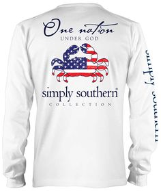 Simply Southern Preppy Collection One Nation Long Sleeve Tee in White