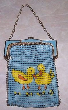 RARE Vtg 1930's Whiting Davis: Duck Enamel Mesh Purse Bag