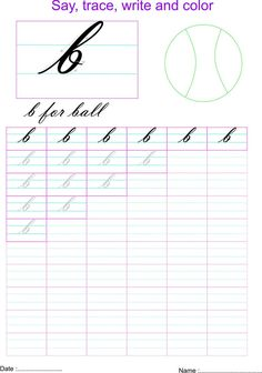 Cursive small letter b  worksheet