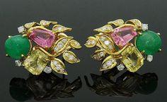 David Webb Platinum & 18k Emerald Tourmaline Earrings : Lot 111