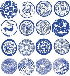 Design blue and white porcelain seal classical totem Chinese Design, Japanese Design, Japanese Art, Chinese Patterns, Japanese Patterns, Doodle Drawing, Impression Textile, Chinese Element, Logo Design